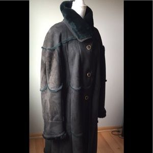 Jackets & Blazers - Genuine Dark Forest Green Shearling Coat Sz XXL
